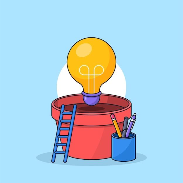 Light bulb lamp plant on pot vector illustration for growing bright idea visual concept design