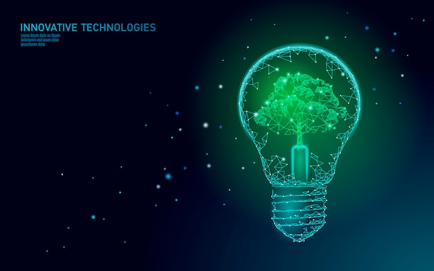 電球ランプ省エネエコロジーコンセプト。電気グリーンエネルギーパワーイラスト内の多角形のライトブルーツリー