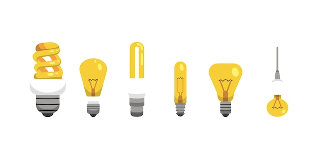 Light bulb and lamp set in cartoon style. main electric lighting types  . idea illustration.