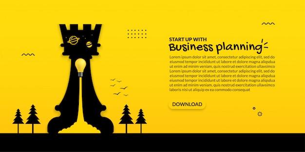 黄色の背景、ビジネススタートアップコンセプト上のチェス内の電球の打ち上げ