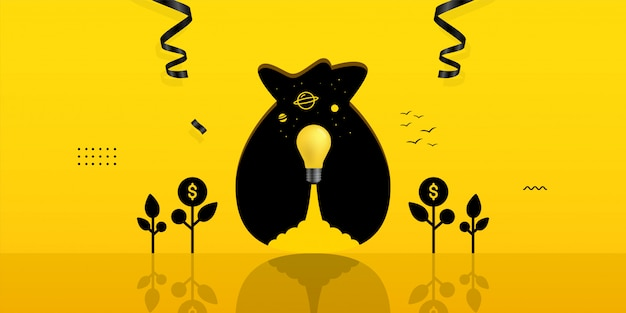 Light bulb launch inside money bag hole on yellow background, investment concept