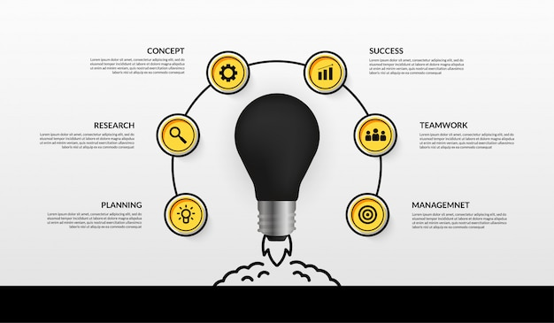 Light bulb launching business start up infographic with multiple options