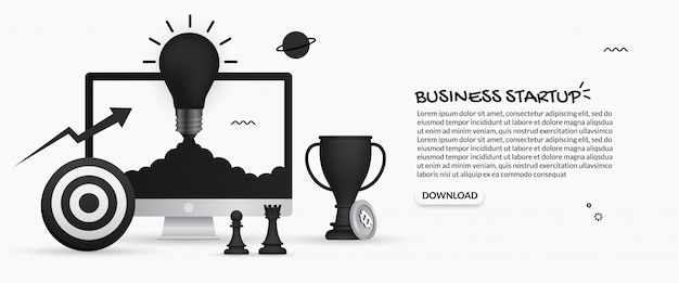 Light bulb launching from desktop monitor on white background, business startup concept