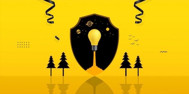黄色の背景のシールド穴の内側に電球を起動