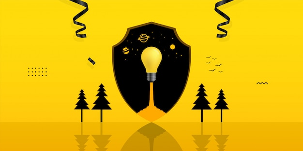 Light bulb launching inside shield hole on yellow background Premium Vector