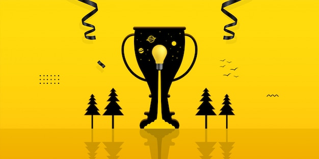 Light bulb launching inside trophy hole on yellow background