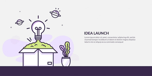 Light bulb launching out from the box , start up idea concept