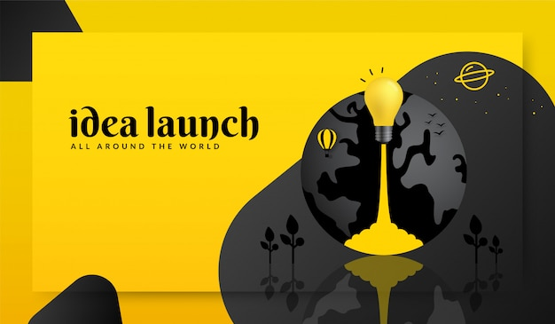Light bulb launching out from earth on yellow background