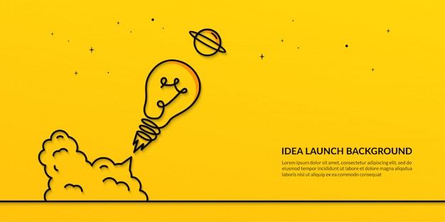 Light bulb launching to space banner, flat start up idea