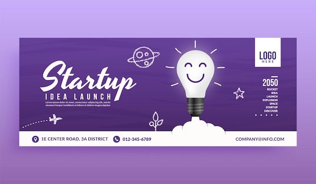 Light bulb launching to space social media cover banner template, creative idea for business startup