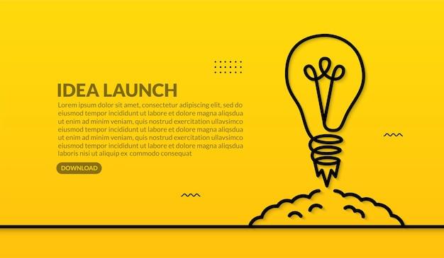 노란색 배경에서 우주로 발사되는 전구, 비즈니스 시작 개념을 위한 창의적인 아이디어