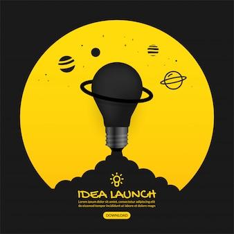 Запуск лампочки в космос на желтом фоне, запуск бизнес-концепции