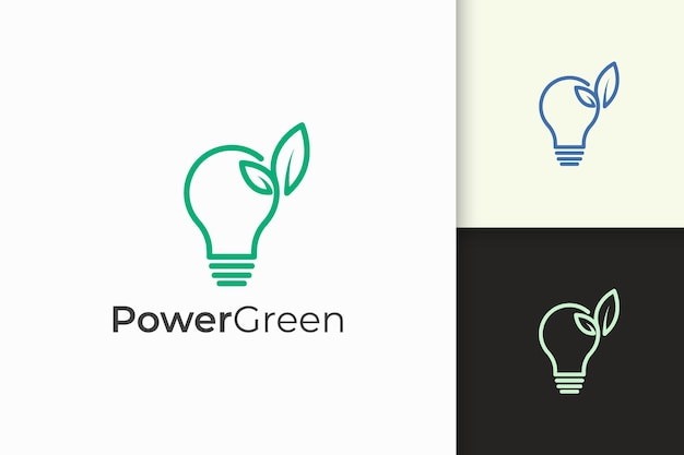 Light bulb and leaf logo in minimalist and modern for technology