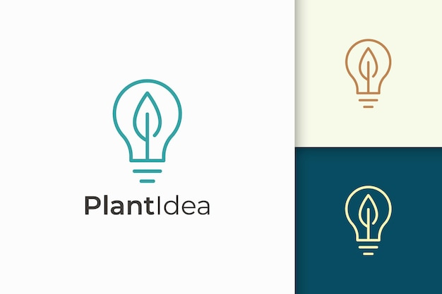 Light bulb and leaf logo in simple style represent energy and innovation