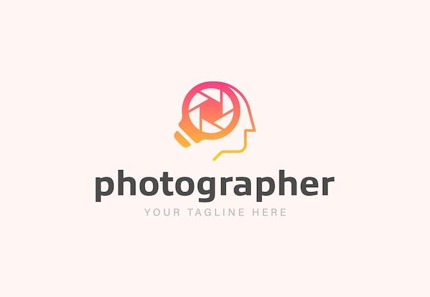Light bulb lens and human head creative logo combination