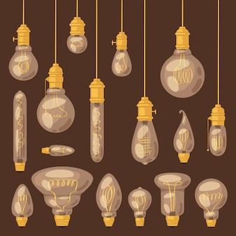 전구 전구 아이디어 솔루션 아이콘 및 배경에 현실적인 전기 빛의 전기 조명 램프 그림 세트