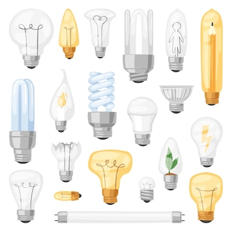 Light bulb  lightbulb idea solution icon and electric lighting lamp cfl or led electricity and fluorescent light illustration set  on white background