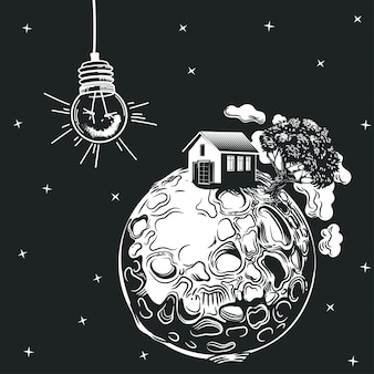 A light bulb lights up a planet with a house and a tree.
