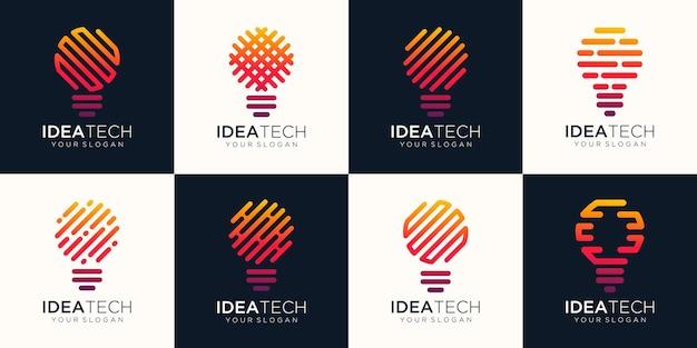 電球のロゴの抽象的な線形幾何学的なビジネスアイコンセット。