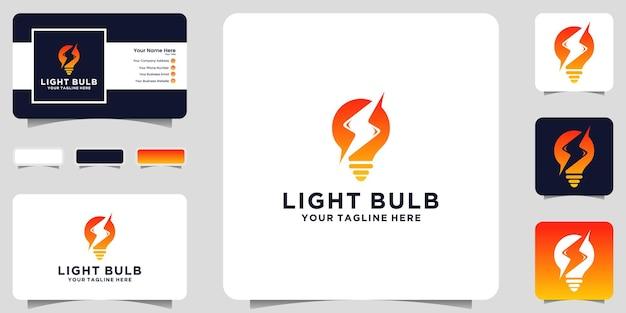 전구 로고 디자인 영감과 전압 및 명함 영감