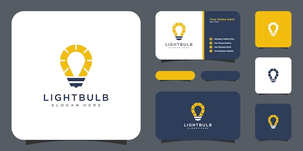 電球のロゴデザインベクトルと名刺