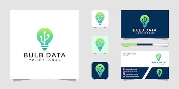 Light bulb logo and usb data business card