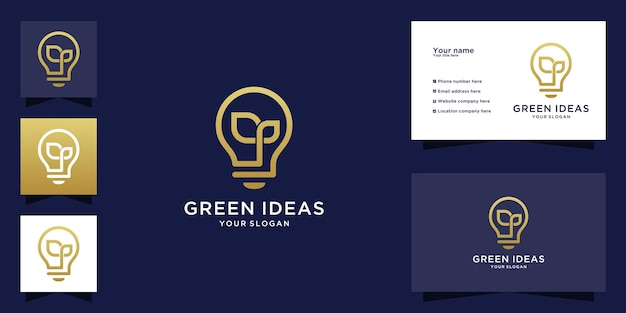 Light bulb logo with leaf design and line art style