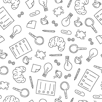 Light bulb, magnifier, brain on a pattern for education