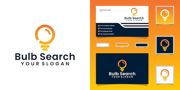 Light bulb and magnifying glass, logo design template and business card