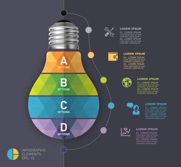 電球の近代的なインフォグラフィックテンプレート