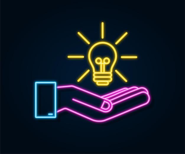 手で電球ネオンアイコン。ランプ、白熱電球。ベクトルストックイラスト。