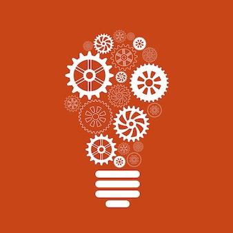 歯車と歯車の概念の電球