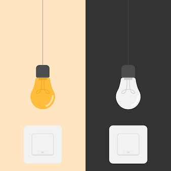 Light bulb on and off switch design illustration
