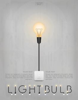コンクリートの壁の背景に電球またはランプ。ベクトルイラスト。