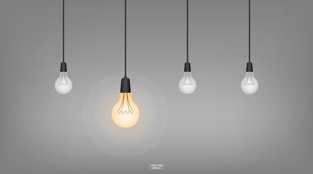 背景が暗い電球またはランプ。ベクトルイラスト。