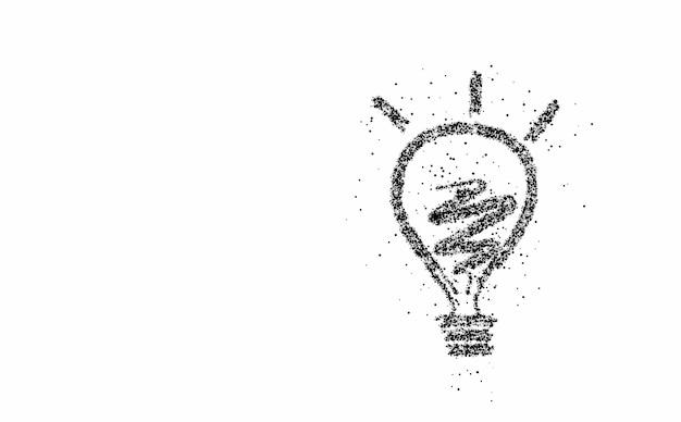 Light bulb, particle vector illustration.