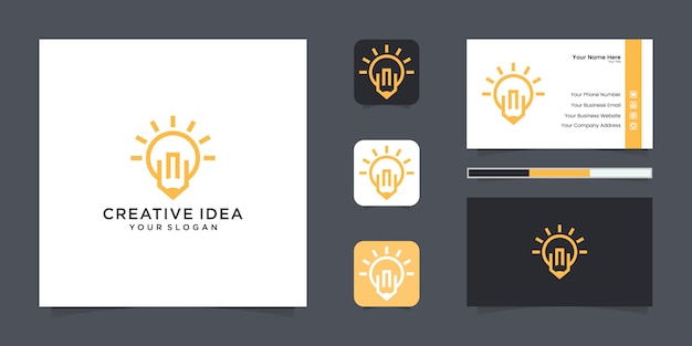 Light bulb and pencil logo and business card