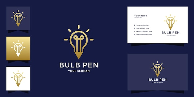 Light bulb and pencil logo with gold color