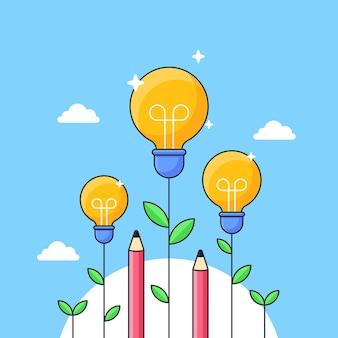 スマート教育の視覚的な概念の図のために高く成長している鉛筆と電球の植物