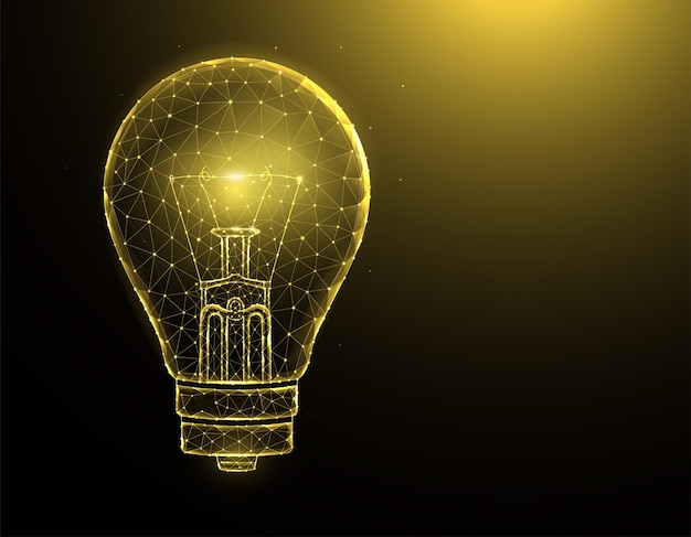 Полигональные иллюстрации лампочки на фоне.