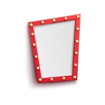 電球の赤いビンテージフレーム。レトロなカジノ、nighclubの看板、映画館の鏡の装飾。明るい光るランプ。祭り、サーカスの装飾のための空の看板。孤立