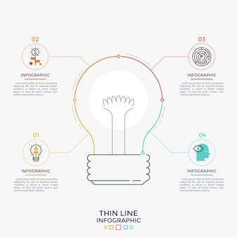 중앙의 전구 기호는 내부에 선형 아이콘과 텍스트 상자가 있는 4개의 원형 요소에 연결됩니다. 사업 아이디어의 네 가지 기능의 개념입니다. 최소한의 인포 그래픽 디자인 템플릿입니다. 벡터 일러스트 레이 션.