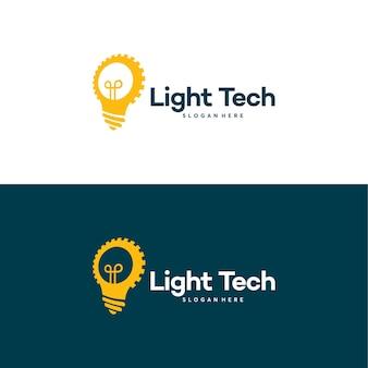 전구 기술 로고 템플릿 벡터, 아이디어 및 기어 로고 템플릿