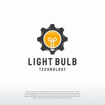 Light bulb tech logo template vector, idea and gear logo template