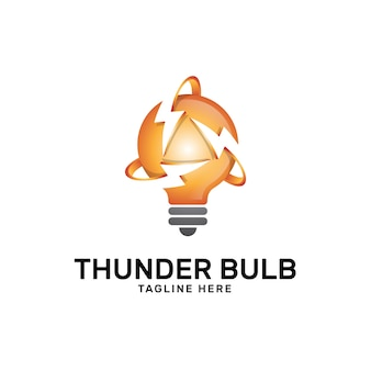 Light bulb and thunder lightning logo