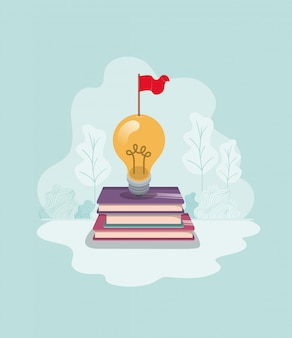Light bulb with books isolated icon