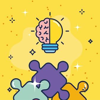 Лампочка с мозгом творческой совместной работы