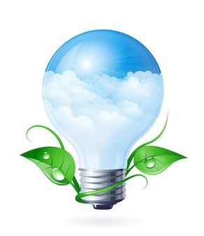 Light bulb with clouds and green leafs gradients used organized by layers