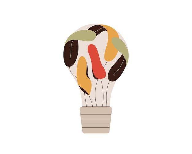다채로운 잎 전구 녹색 아이디어와 혁신 개념