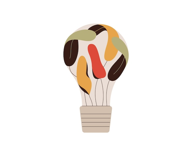 Light bulb with colorful leaves green idea and innovation concept